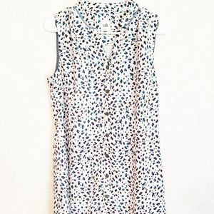 Small Cabi Speckled White Brown Blue Sheath Dress